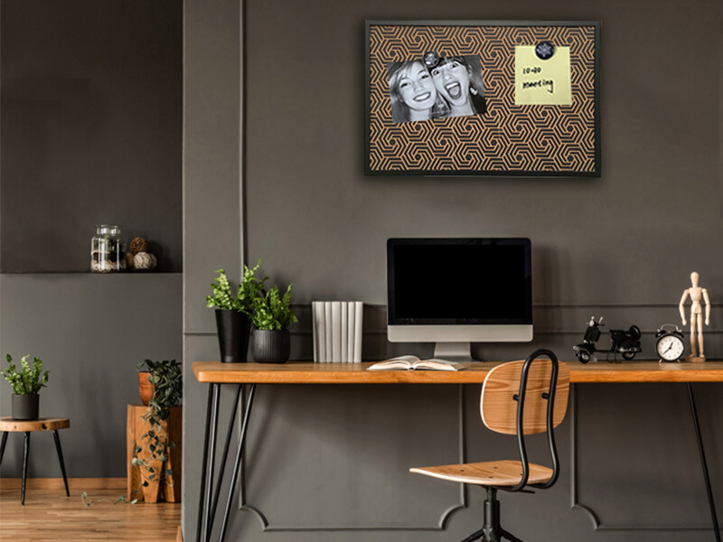 Black Frame Bulletin Board Printed Corkboard