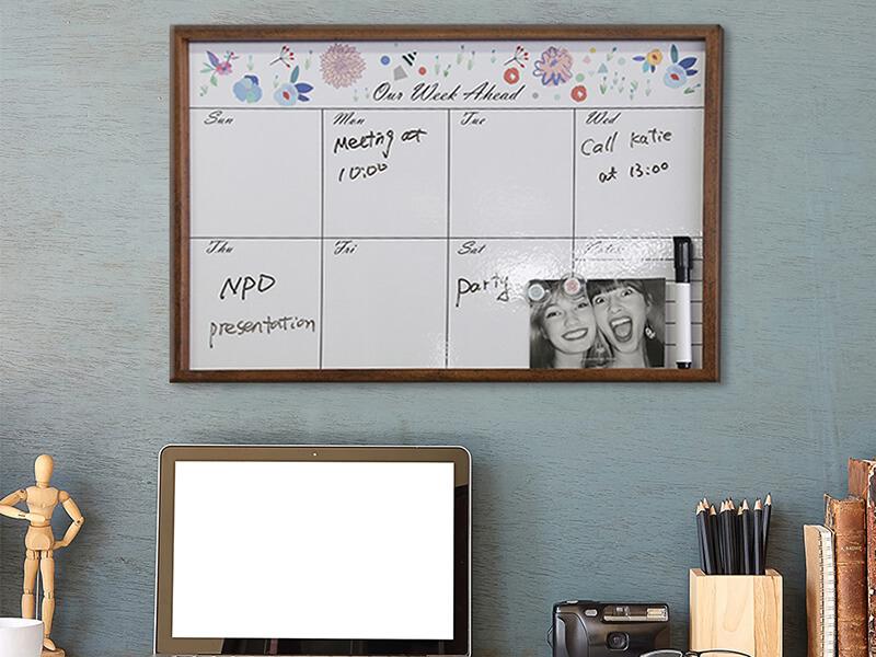Framed Erasable Magnetic Board Weekly Planner Memo Board  White Board