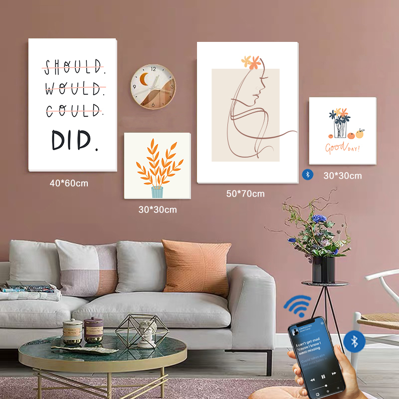 Hang On The Wall,Combining Art & Audio-Visual Delight For The Senses Great For Both Decoration And Loud Speaker New Music Blue tooth Sonic Speaker&Painting
