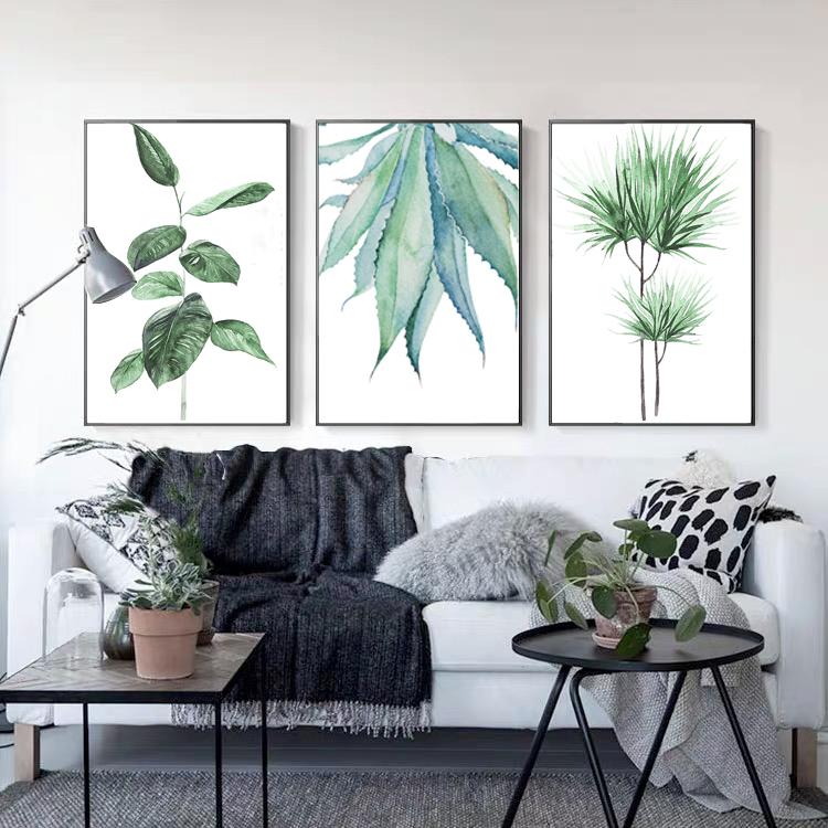 Spring green leaf set of 2 set of 3 L shape floating framed canvas art