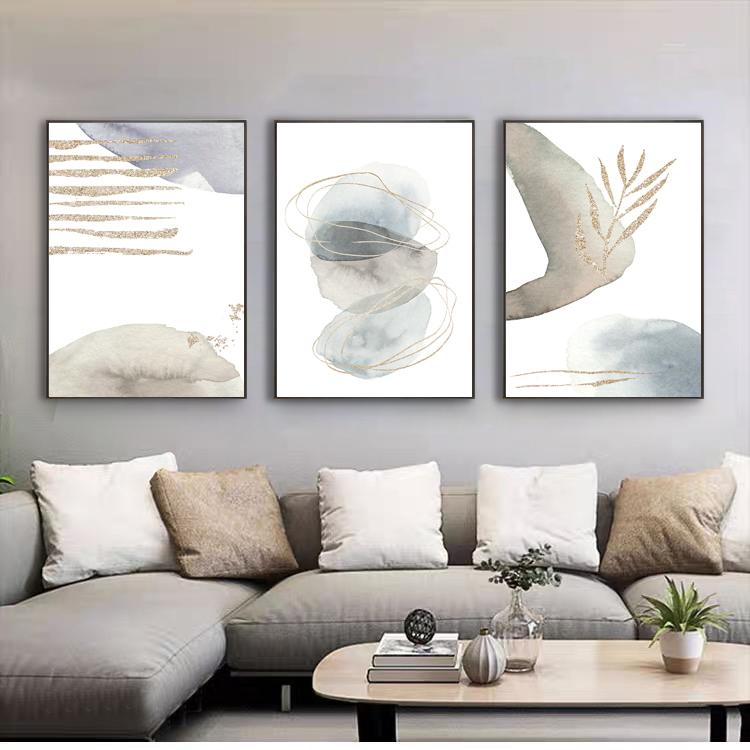Abstract pattern Set of 2 set of 3 L shape floating framed canvas art frame pircture