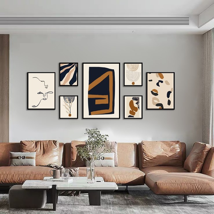 BSCI Factory Top Quality Abstract design framed Art MDF frame canvas Set of 7
