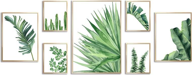 Tropical leaf Set of 7 MDF framed art decoration framed canvas art
